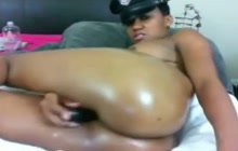 Horny ebony with amazing ass dildoing her smooth cunt