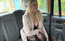 Busty blonde fucked in the taxi